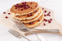 Home made pancake on a wooden board Royalty Free Stock Images
