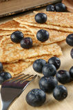 Home made pancakes with fresh blueberries. Some home made pancakes with fresh blueberries royalty free stock photo