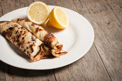 Home made pancakes with lemon and sugar topping Royalty Free Stock Image