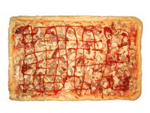 Home made pizza. Home made rectangle pizza Royalty Free Stock Photo