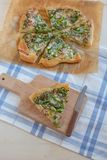 Home made pizza with asparagus Stock Photo