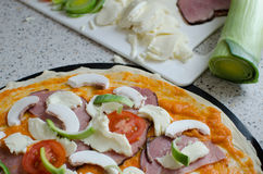 Home made pizza with soda Royalty Free Stock Photos