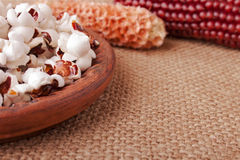 Home Made Popcorn and Corncobs Stock Photography