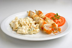 home made potato salad with salmon shashlik Stock Images