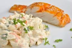 Home made potato salad with salmon shashlik Royalty Free Stock Photo