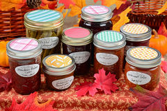 Home made preserves. Of fruit, vegetables and spices in colorful autumn display Royalty Free Stock Image
