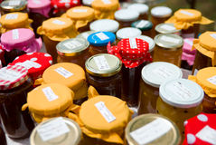 Home-made preserves at market stall Stock Photography