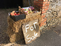Home made produce for sale UK. For sale sign - Apples and home made jam for sale outside a house in the UK royalty free stock photography