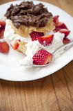 Puff pastry with berries and whipped cream Royalty Free Stock Photography
