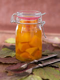 Home-made pumpkin marinated sweet-and-sourly in a glass Royalty Free Stock Photography