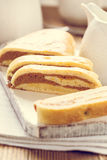 Home made pumpkin roll cake Royalty Free Stock Images