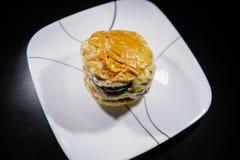 Home made putty beef burger stock photos