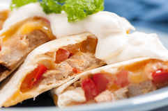 Home made quesadilla with sour cream Royalty Free Stock Photography