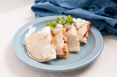 Home made quesadilla with sour cream Stock Photo