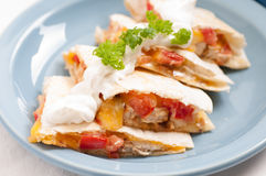 Home made quesadilla with sour cream Royalty Free Stock Photos