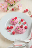 Home made raspberry ice cream. With fresh raspberries on a plate Stock Photo