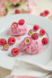 Home made raspberry ice cream. With fresh raspberries on a plate Stock Images