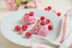 Home made raspberry ice cream. With fresh raspberries on a plate Royalty Free Stock Photos