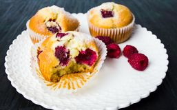 Home made raspberry muffins. In paper holders Royalty Free Stock Images