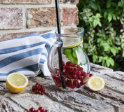 Home-made refreshing lemonade of red currant with ice and lemon stock image