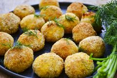 Home made rice italian style Croquette.Arancini with runa fish. Rice balls or croquette with parmesan cheese, tuna fish royalty free stock photos