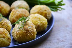 Home made rice italian style Croquette.Arancini with runa fish. Healty  baked Rice balls or croquette with parmesan cheese, tuna fish royalty free stock photo