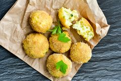 Home made    rice italian style  Croquette. Rice balls or croquette , parmesan cheese Royalty Free Stock Images