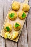 Home made    rice italian style  Croquette. Rice balls or croquette , parmesan cheese Stock Image