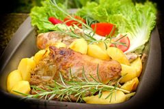 Home made roasted lamb and roasted potato Royalty Free Stock Photo