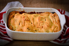 Home made rustic style meat pie Royalty Free Stock Photography