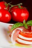 Fresh mozzarella and tomato salad Royalty Free Stock Photo