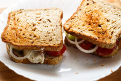 Home made sandwiches on white plate Royalty Free Stock Photo