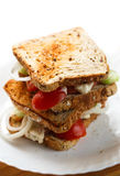 Home made sandwiches on white plate Royalty Free Stock Photos