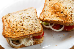 Home made sandwiches on the white plate Royalty Free Stock Image