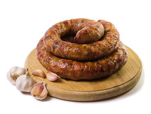 Home made sausage with garlic Royalty Free Stock Image
