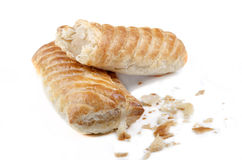 Home made sausage rolls on bright background Stock Photos