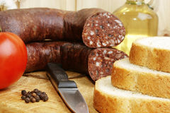 home made sausage and some toast bread Stock Photography