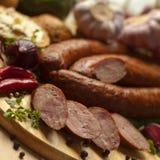 Home-made sausages Stock Photos