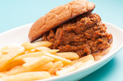 Home made sloppy joe with fries Stock Photography