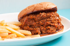 Home made sloppy joe with fries Royalty Free Stock Images