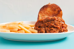 Home made sloppy joe with fries Royalty Free Stock Photos