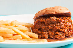 Home made sloppy joe with fries Royalty Free Stock Image