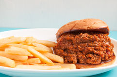 Home made sloppy joe with fries Stock Images