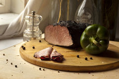 Home-made smoked ham Royalty Free Stock Photos