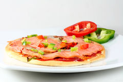 Smoked salmon pizza. Home made smoked salmon pizza Royalty Free Stock Images