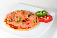 Smoked salmon pizza. Home made smoked salmon pizza Stock Images