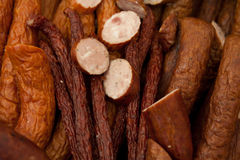 Home-made smoked sausage Stock Images
