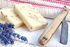 Home-made soap with lavender Stock Images