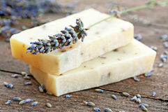 Home-made soap with lavender Stock Image