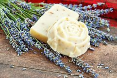 Home-made soap with lavender Royalty Free Stock Images